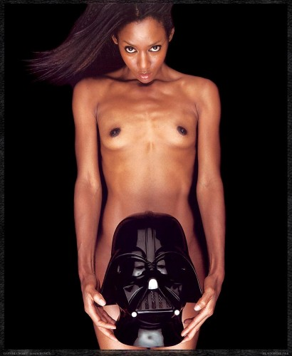 black girl with darth helmet