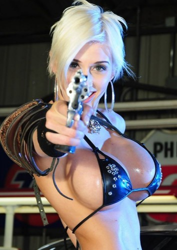 busty pistol packer