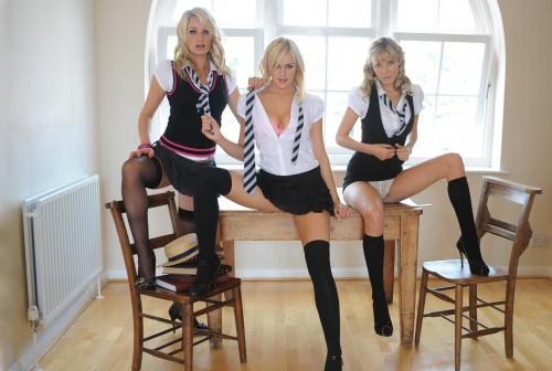 three blondes on a table