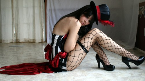 awesome hat and fishnets
