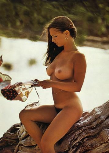 christina lindberg on a log