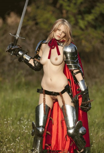 nude woman in armor