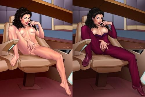 deanna troi nude on the bridge