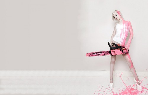 pink paint chainsaw
