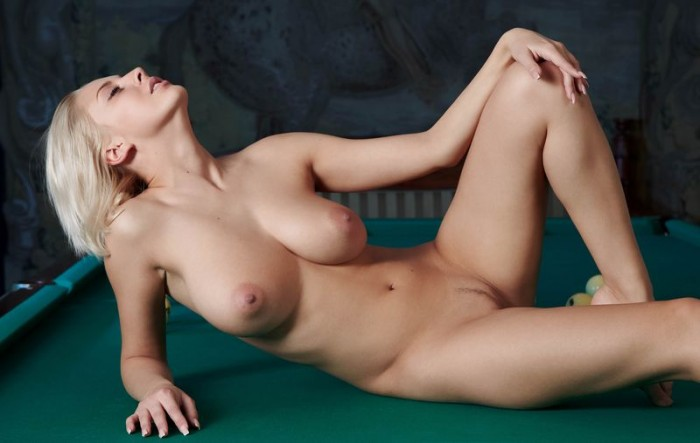 busty girl in a pool hall 13 700x443 pool table hottie