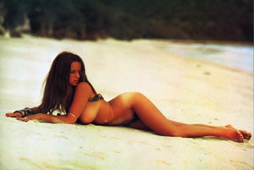 Christina Lindberg on the beach