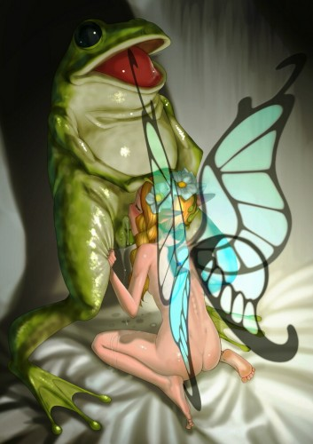 fairy blowing a frog