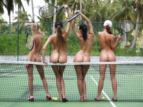 group of nude tennis girls