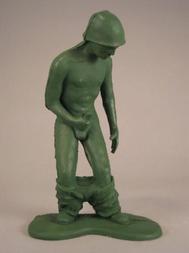 masterbating green army man