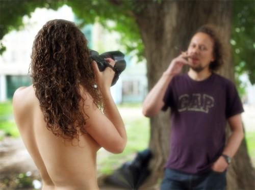nude takes photo
