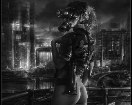 pantless gas mask woman
