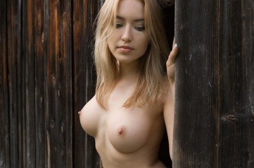 wooden blonde looking down