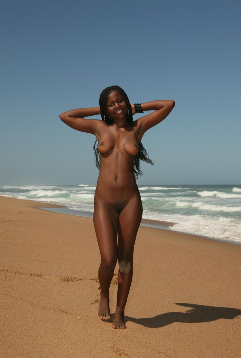 Nude Black Woman On Beach