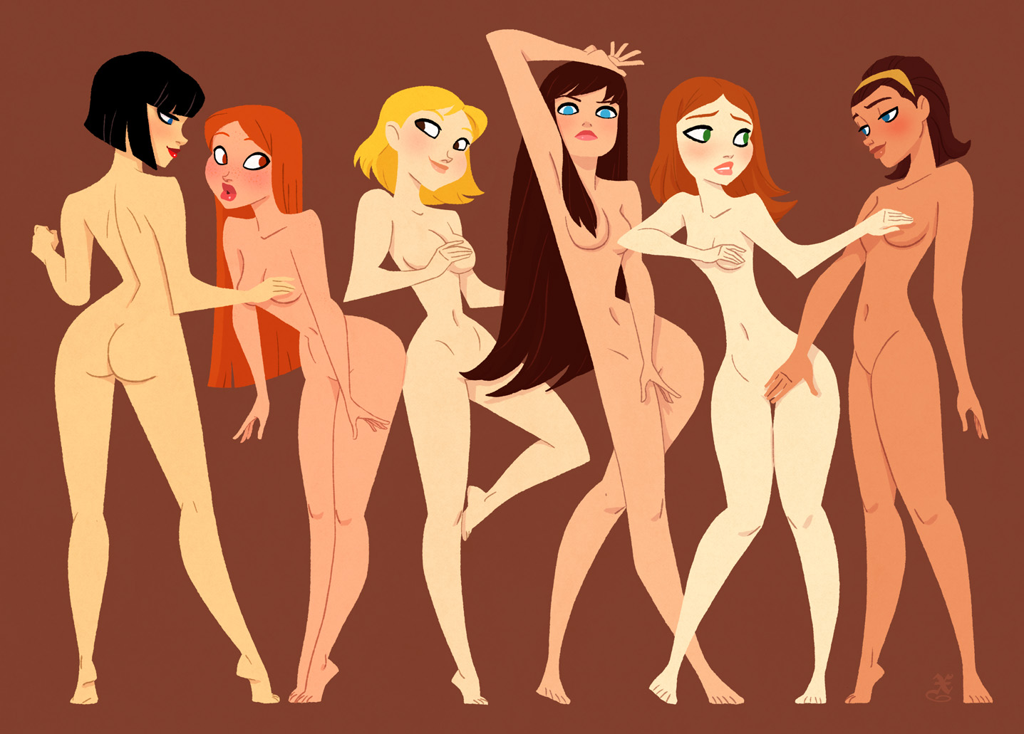 Hot naked cartoon girls and woman softcore scene
