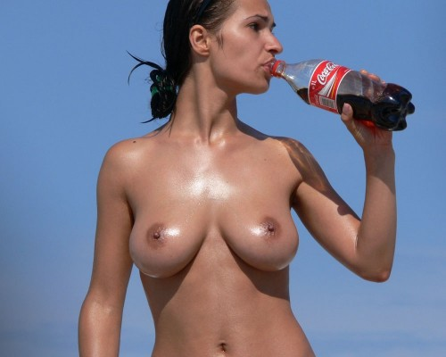 topless coke drinker